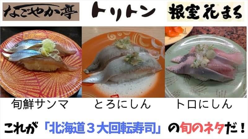 北海道3大回転寿司の旬のネタ